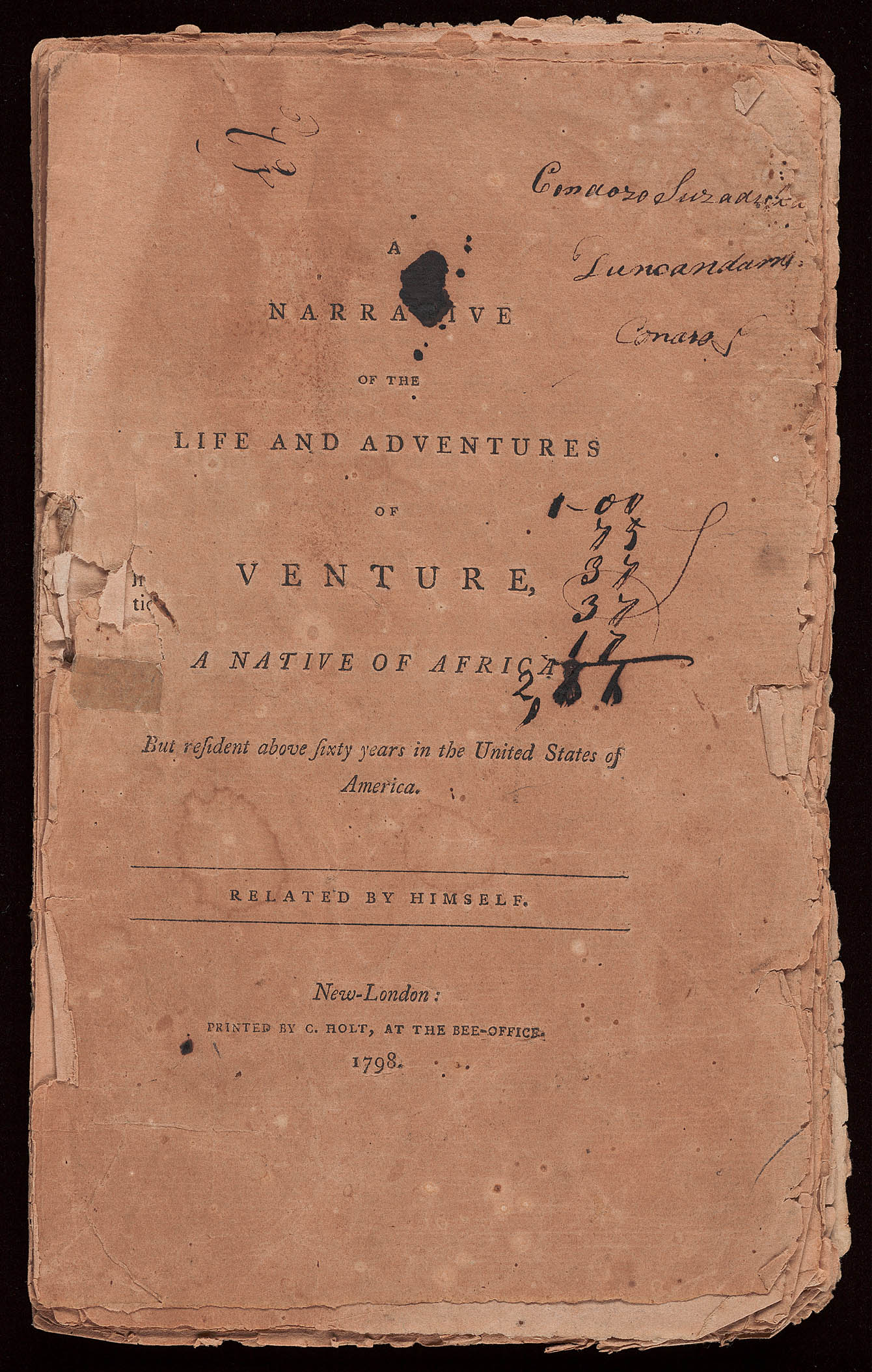 Title page of Venture Smith's narrative.