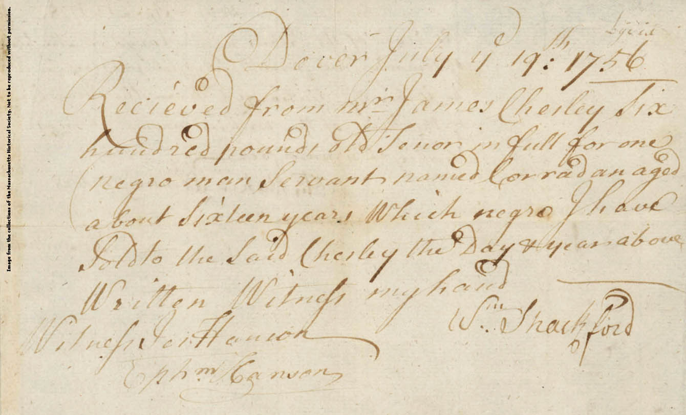 Receipt from William Shackford for sale of Corradan, recto