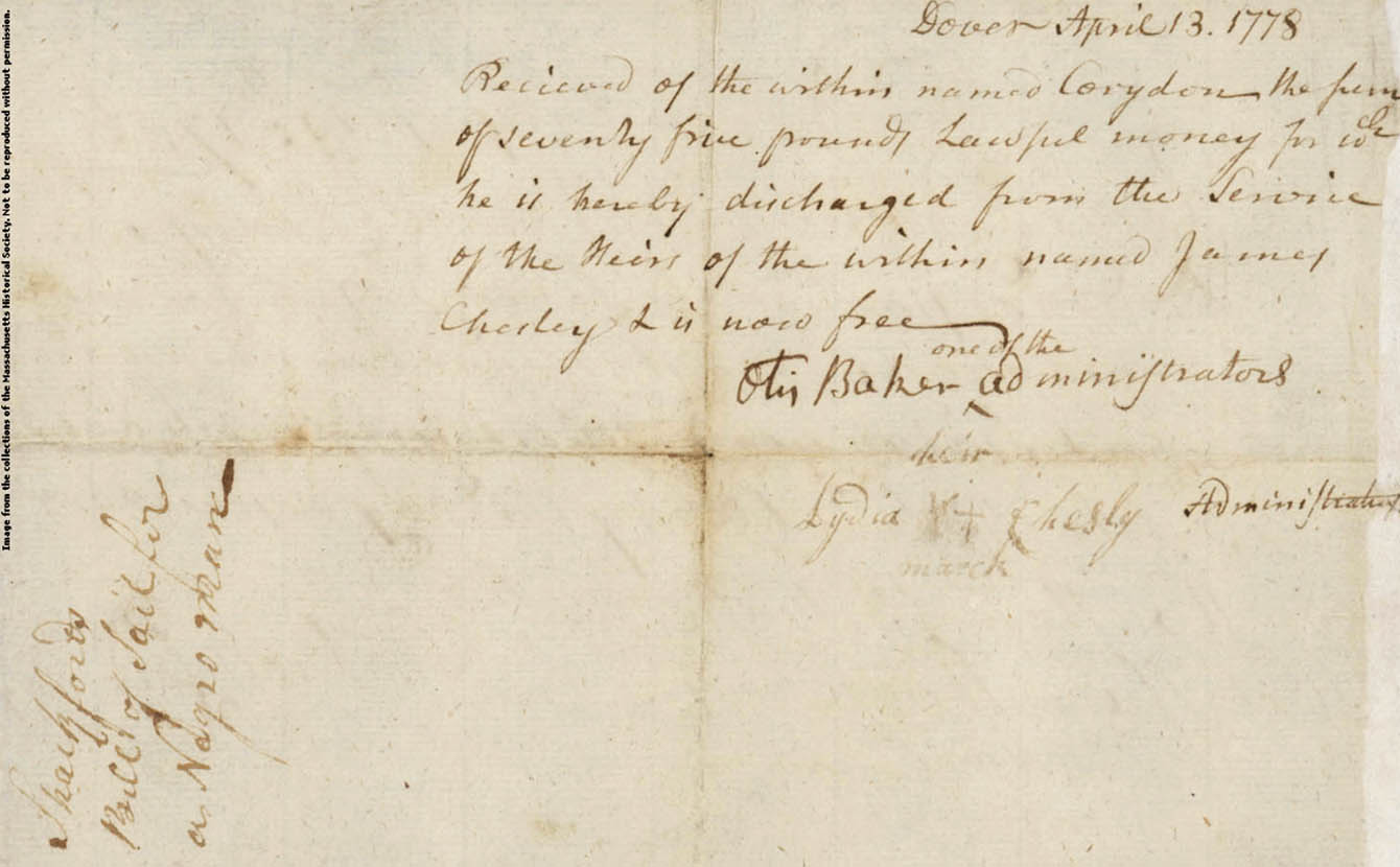 Receipt from William Shackford for sale of Corradan, verso