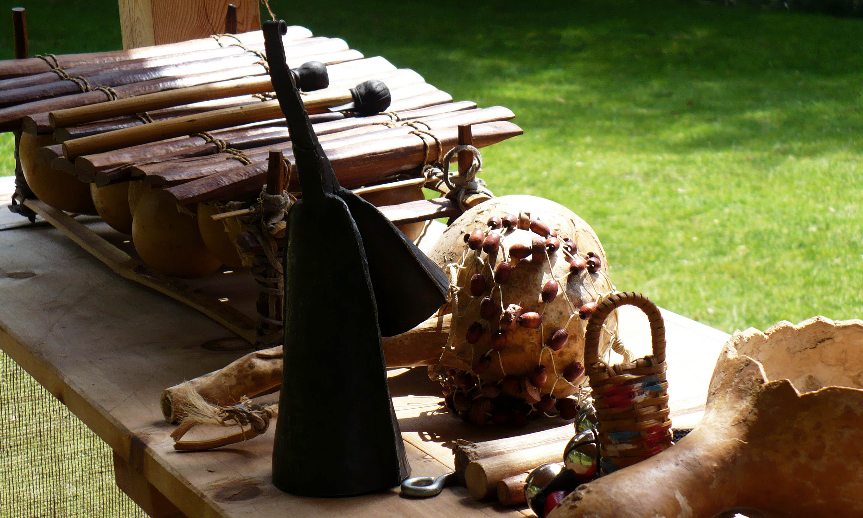 Percussion instruments at Philipsburg Manor